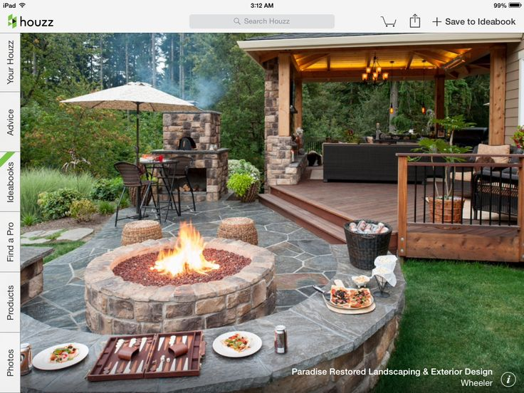 Patio Off The Deck With Fire Pit