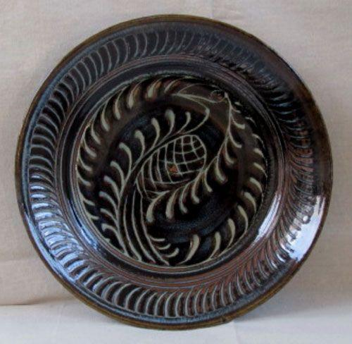 Ferny bird ash-glazed jun sgraffitto plate