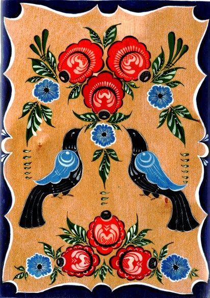 Folk Gorodets painting from Russia. Floral pattern with two birds. #art #folk…