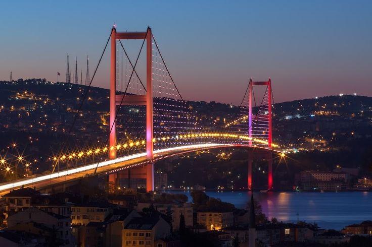 The Bosphorus Bridge by night #picoftheday  #istanbul  #turkey  #europe …