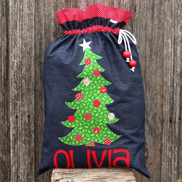 Denim Santa Sack (8 letters) $55 + $3 per letter #santasack #Christmas #handmade #zippyzippy