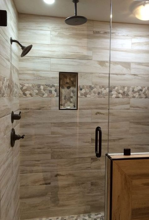 Rustic Master Bathroom with High ceiling, frameless showerdoor, Pebble Tile Shop Sliced Java Tan and White Pebble Tile Border