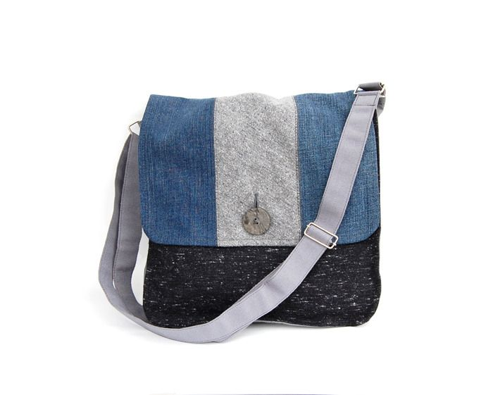 Borsa tracolla cartella uomo blue jeans grigio riciclo tessuto casual chic unisex ecofriendly autunno inverno : Borse a tracolla di filoecoloridiila #jeans #denim #shoulderbag #man #recycle #ecofriendly #handmade