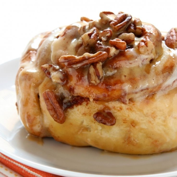 Who can resists the smell of toasted pecans on a warm and gooey cinnamon roll.