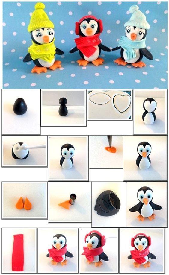 Des pingouins à réaliser en fimo aussi bien qu'en pate à sucre !