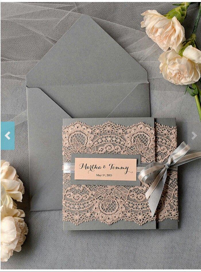 Custom listing Peach Wedding Invitations Lace grey