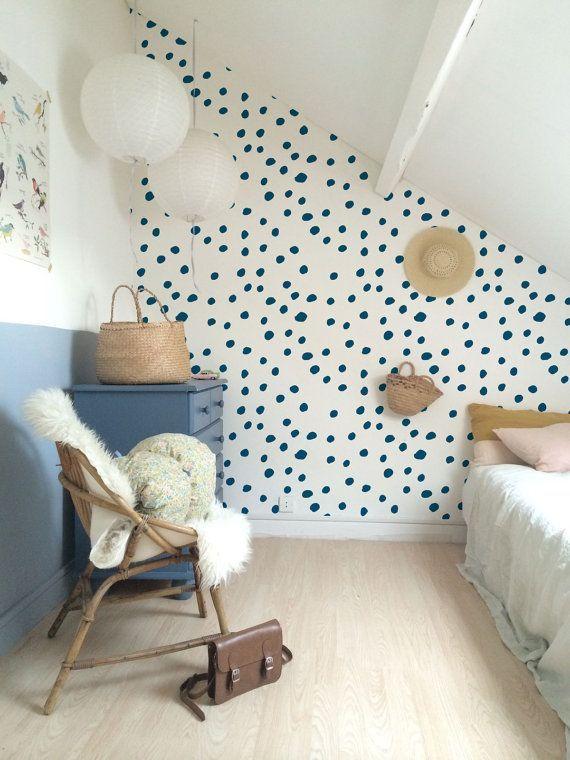 Self adhesive vinyl temporary removable wallpaper, wall decal – Navy polka dot pattern wallpaper – 090