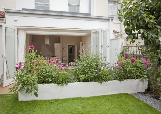 Rear kitchen-diner extension lovely raised bed too