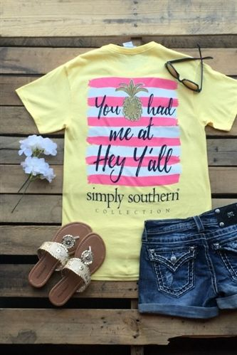 Preppy Y'all Tee By Simply Southern - Banana - $19.99 #southernfriedchics…