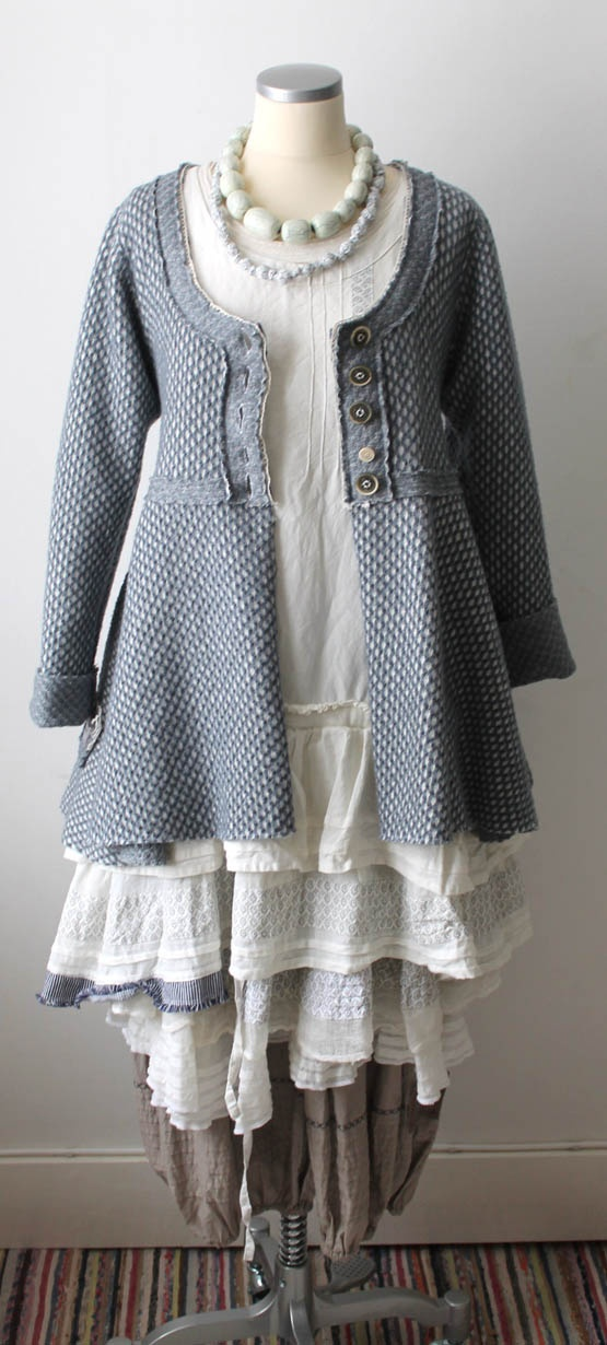 Great jacket. Be sure to follow the link.  Lots of great pieces. Many are too ruffly for me, but others are perfect.