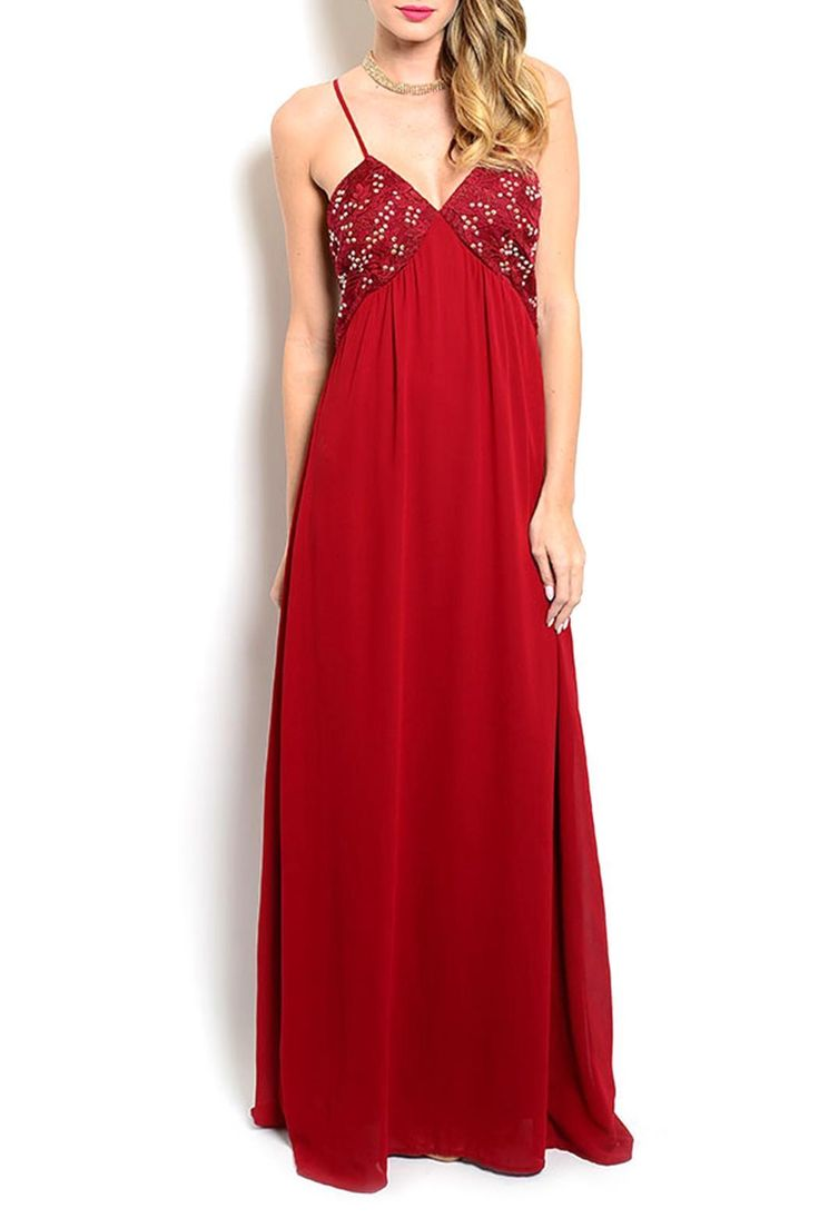 "This wine color spaghetti strap gown features an embellished bodice, v-neckline and an empire silhouette. L: 62"" B: 30"" W: 26"".   Wine Long Dress by Soieblu. Clothing - Dresses - Maxi Vancouver, Canada"