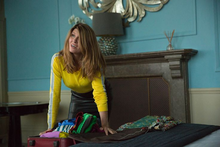 Sharon Horgan in Catastrophe: yellow top with stripe, black leather skirt