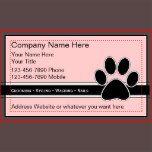 Pet service business cards with powerful business card design that has a paw print, background color you can change, and text space you can customize. Best business cards for themes related to pet grooming, pet sitting, salon, or kennel and day care.