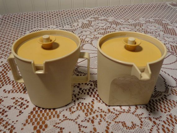 Vintage Tupperware Cream and Sugar Set  -  Harvest Gold and Ivory Tupperware Set on Etsy, $19.00