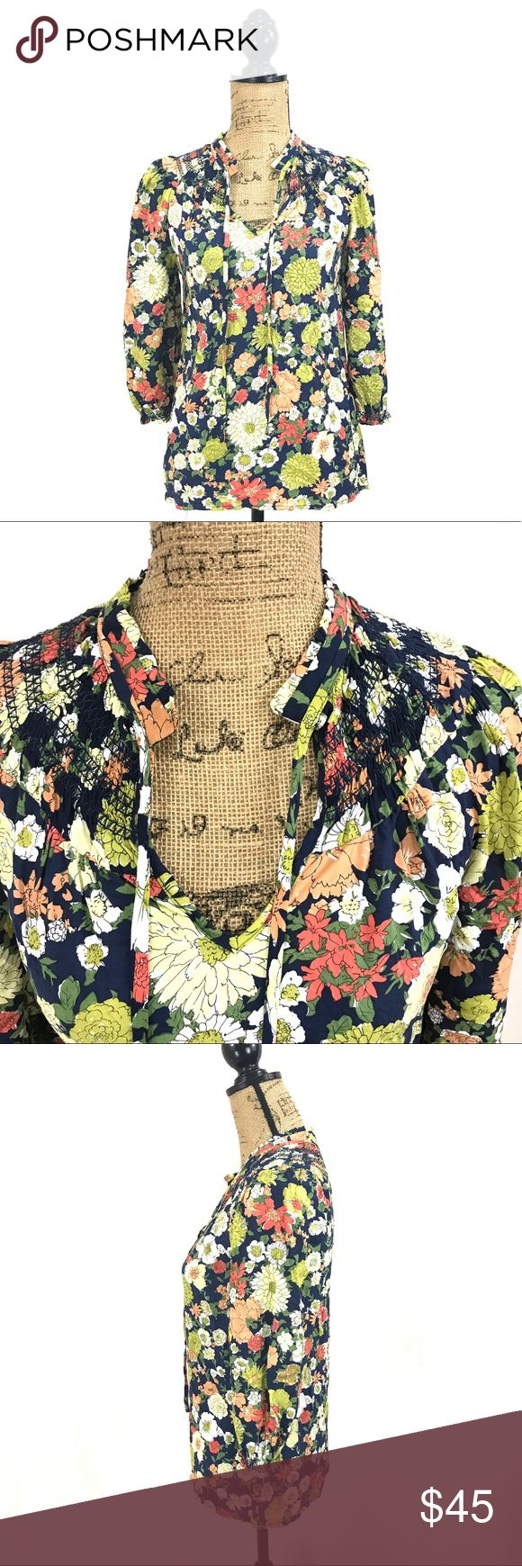 Anthro odille floral blouse NWOT - new without tags. Size 0. Anthro-odille materials pictured. Measurements are taken with the garment laying flat, unstretched, in inches not doubled and are approximate. Bust-18 length-25 sleeve length-18 Anthropologie Tops