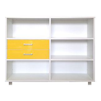 12 cube with double spacing Snowdrift White Exterior with Yellow GLOSS drawers <3