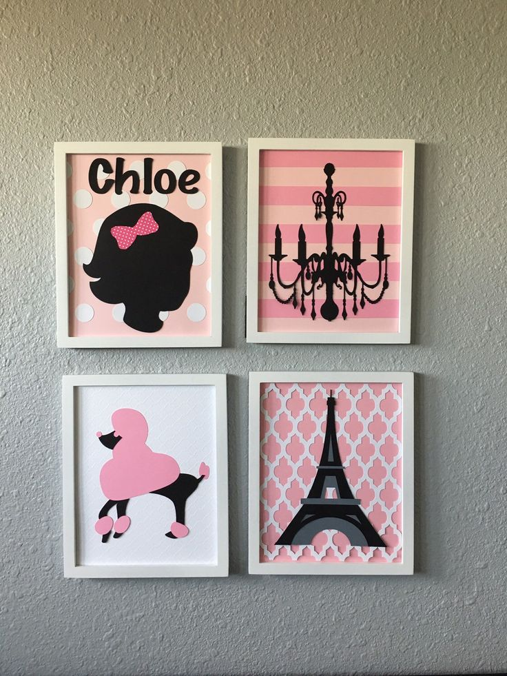 A personal favorite from my Etsy shop https://www.etsy.com/listing/269566776/peronalized-paris-themed-nursery-art-set