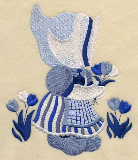 ** Little Dutch Girl Sunbonnet Sue  Block Of The Month Pattern Used As Applique Quilt @emlibrary
