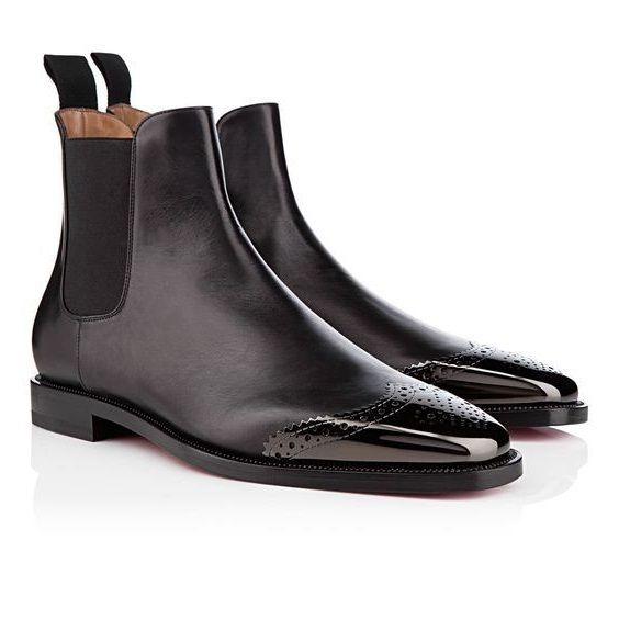 Handmade men black boots, patent toe boots for men, men leather boot, dress boot - Boots