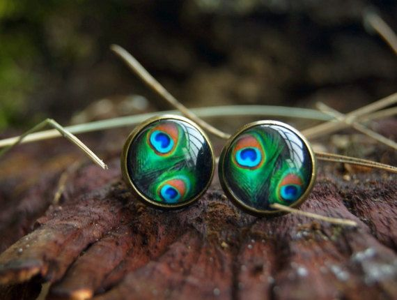 Peacock feather 12 mm glass dome stud earrings by InviolaJewerly