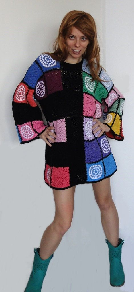 WILD AT HEART Crochet tunic dress flower power colour fashion retro hippie nomad gypsy woman patchwork made to order