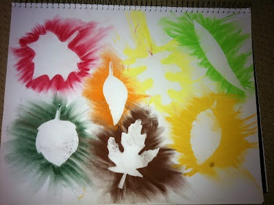 Autumn art project - using pastels (smudged) over leaf templates and then removing the templates. Pretty!