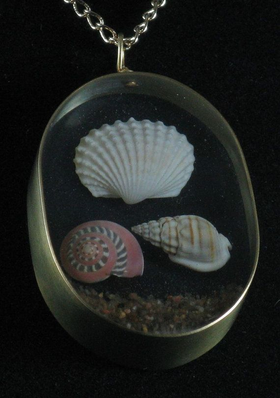 Pendant resin aquarium with sea shells and sand 001 by crquack