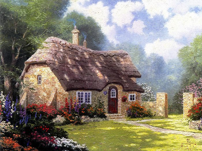 Fairy Tale Cottage - Thatched  Cottages Paintings by Thomas Kinkade