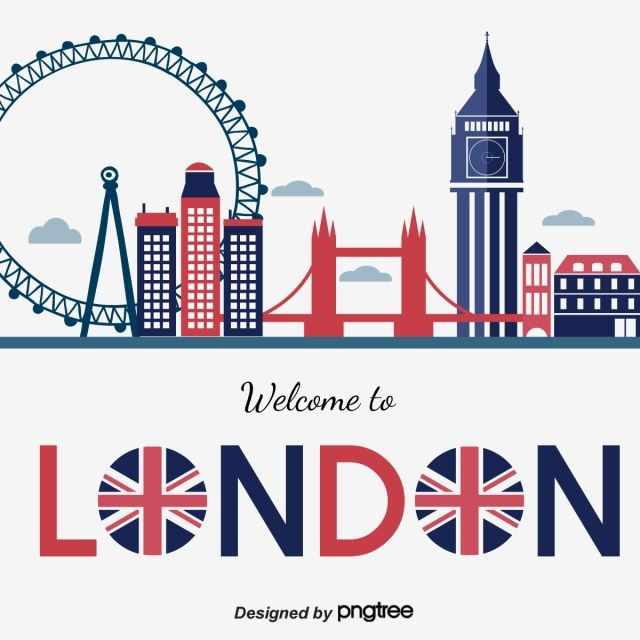 Characteristic Element Design Of Red Blue London Horizon Scenic Spot London London Bus Silhouette Png And Vector With Transparent Background For Free Downloa London Illustration Uk Flag City Vector