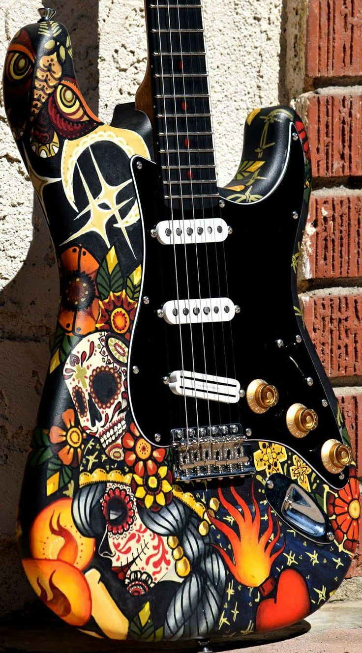 Forest Young Custom Art Guitar Paint by Emily Reese