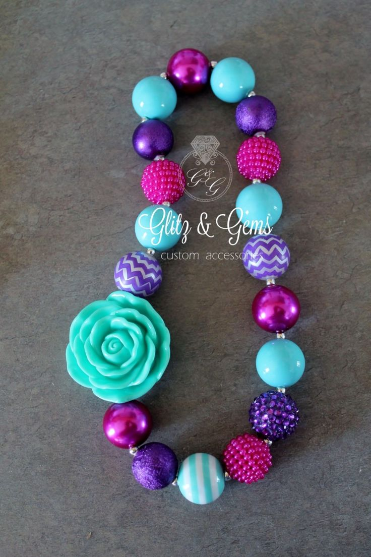 Chunky Bubble Gum Bead Necklace on elastic cord Purple Fuchsia Aqua flower chevron www.facebook.com/GlitzGems