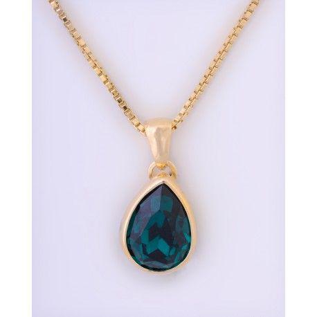 Collar swarovski verde esmeralda #joyas #brugine #collares