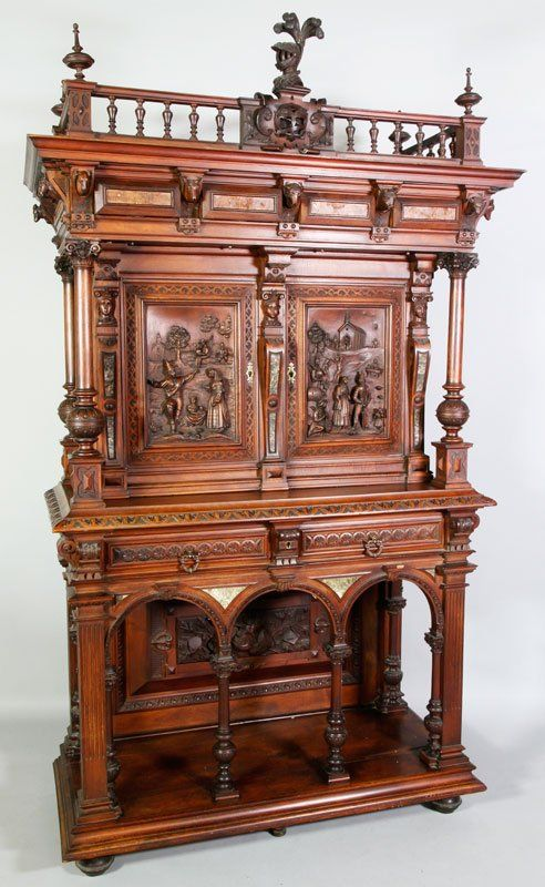 "Exceptional 19th century Spanish carved cabinet depicting scenic panels, inscribed verso with Espana ebanistena de urbano anido 1892, Santiago Galicia, 83"" x 50 1/2"" x 22 1/2"""
