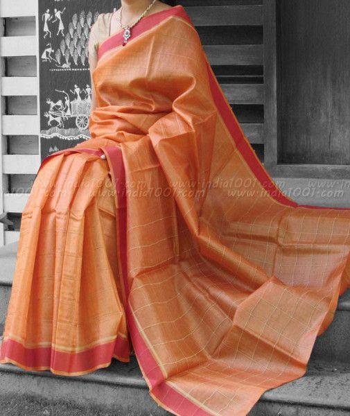 Elegant & Fine Tussar Silk Saree with woven borders