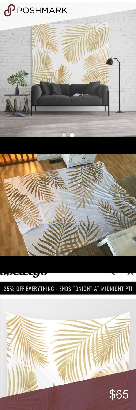 """Society 6 Gold Palm Tree Leaves Tapestry 88""""x104"""" Urban Outfitters Other"""