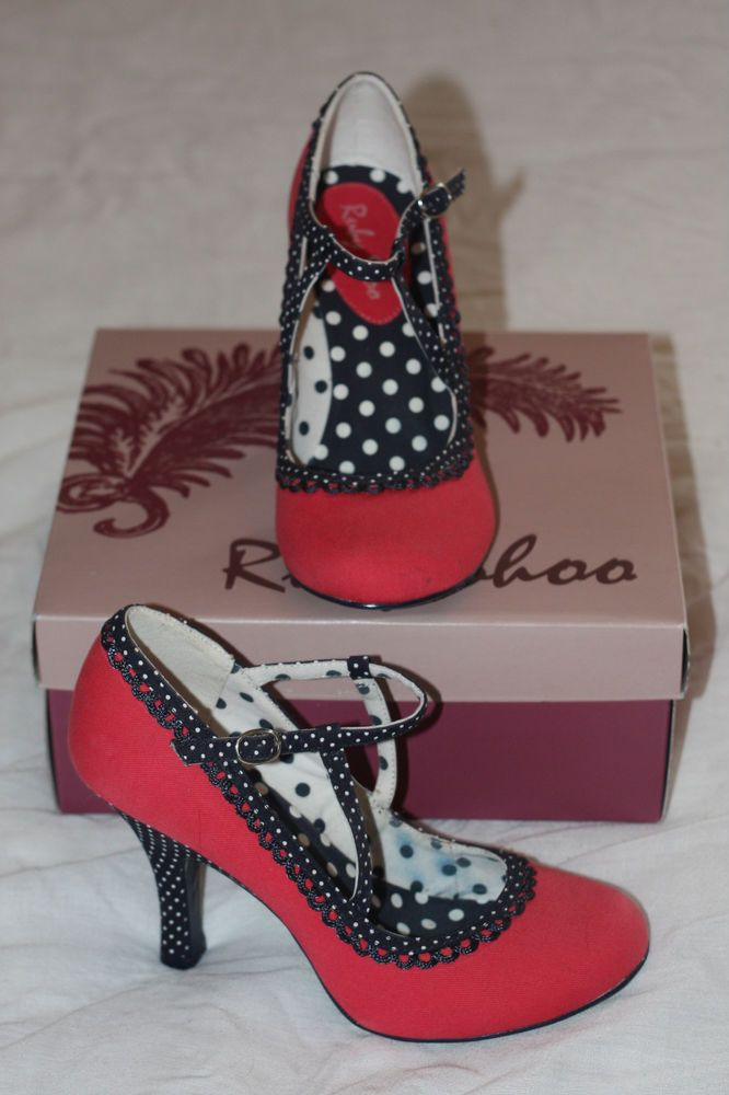 Gorgeous Raspberry and navy Ruby Shoo size 5 like Irregular Choice worn once!