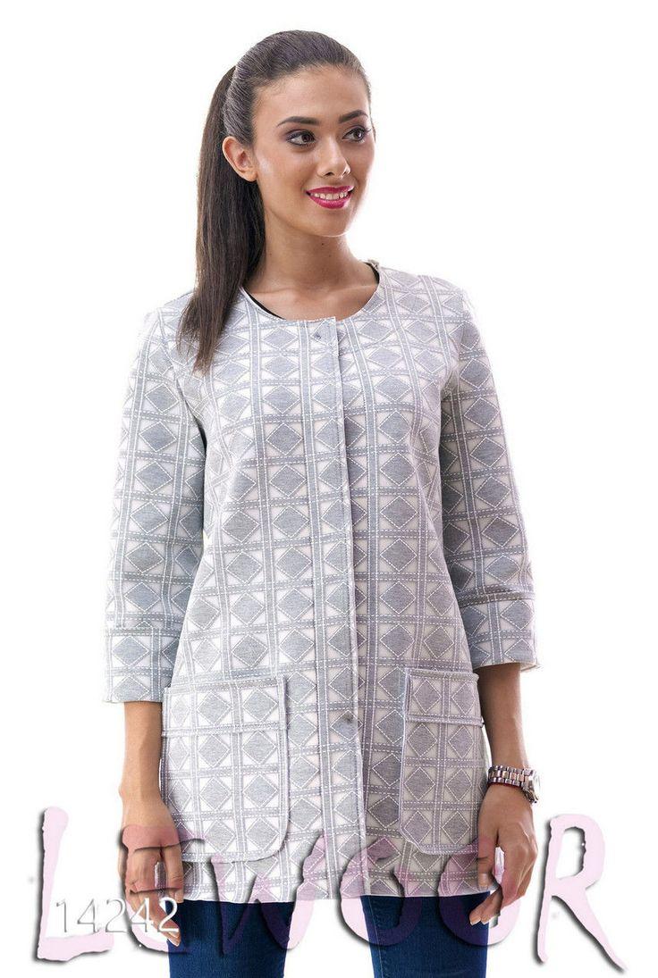 Красивый пиджак с рукавом 3/4 из органзы с неопреном - купить оптом и в розницу, интернет-магазин женской одежды lewoor.com