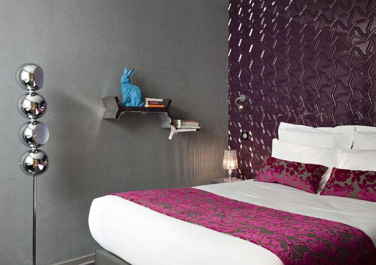 Hôtel Rohan à Strasbourg  Chemin de lit et coussins Louvre de Toiles de Mayenne