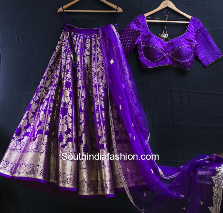 purple banarasi lehenga sailesh singhania photo #indiafashion,
