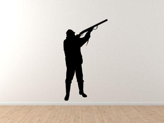 Hunter with Shotgun Silhouette Shadow Version 2 Wall Vinyl Decal Home ...