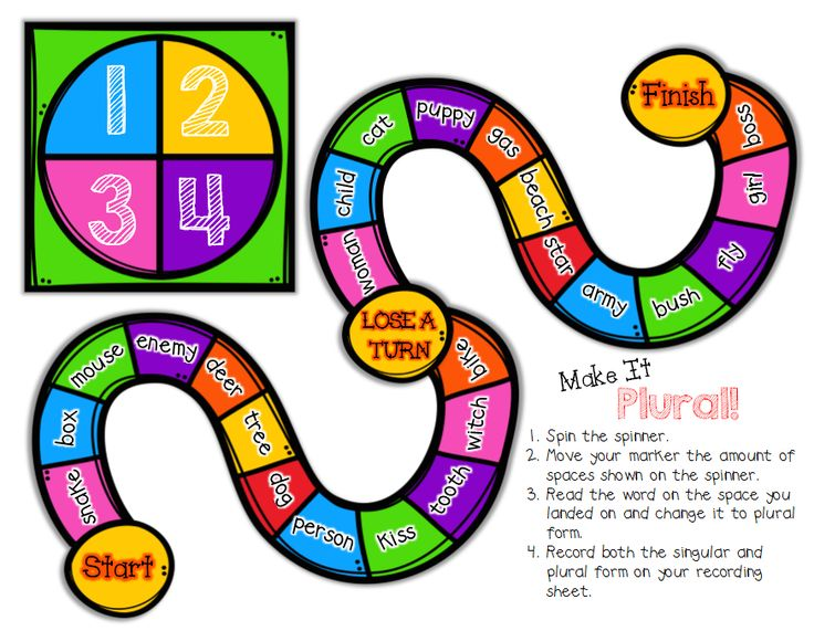 "Classroom Freebies: ""Make It Plural!"" {A board game for practicing singular and plural nouns}"
