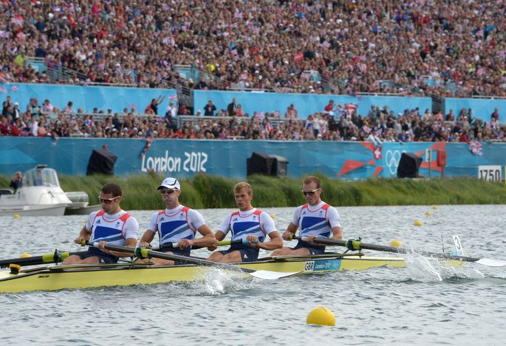 Peter Chambers, Rob Williams, Richard Chambers, Chris Bartley in action on the water at London 2012