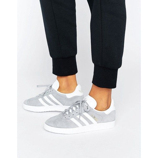 best sneakers a4450 336af adidas Originals Grey Gazelle Sneakers With Snake Effect Trim (€77) ❤ liked  on Polyvore featuring shoes, sneakers, grey, adidas trainers, retro  jerseys, ...