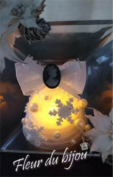 クレイ★クリスマスワンデー★LEDキャンドルでエレガントツリーのアイスボックス|大阪で粘土の花(花のあとりゑ/ルレーブ・フルール)・クレイフラワー・タッセルメイキングを中心にクラフト活動中