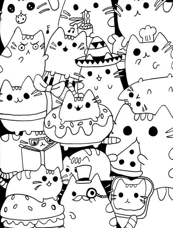 Pusheen Cats Coloring Page by MoriahKesingerArts on Etsy