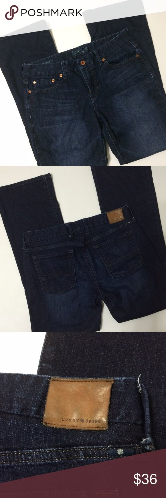 """Lucky Brand """"Sweet Jean Boot"""" Jean Beautiful darker pretty blue color blue jean...these are in great shape and are size 8/29 with a waist measuring 16.25-16.5"""" across laying flat and 29.5"""" inseam with about a 8.5"""" rise. The """"sweet boot"""" cuff is 9"""" they just seem to taper out a little around knee...bundle to save more plus ⚡️📦📫😄💕 Lucky Brand Jeans Boot Cut"""