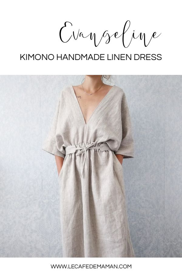 Handmade linen kimono style dress – beautiful timeless outfit perfect for summer…