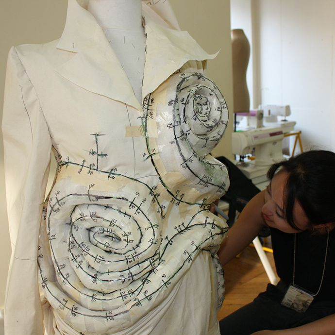 AOF MasterClass 4-week 2013 - Patterning a coat with Junior fashion student Grace Park (Parsons NY)