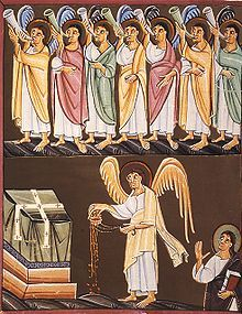 Seven trumpets are sounded, one at a time, to cue apocalyptic events that were seen in the vision of the Revelation of Christ Jesus, by John of Patmos, as written in the Book of Revelation of the New Testament. The seven trumpets are sounded by seven angels and the events that follow are described in detail from Revelation Chapters 8 to 11. Alt meaning for muted horn - blocking the apocalypse.