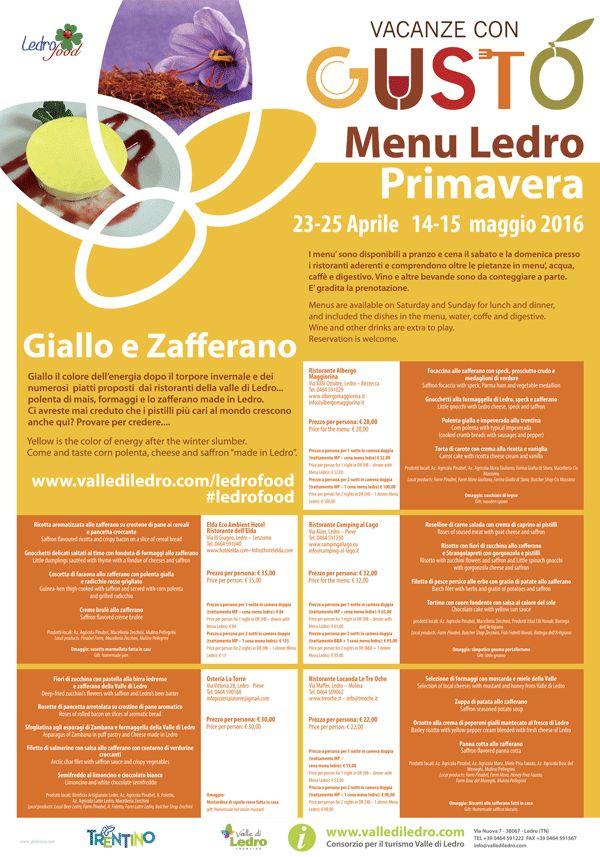 Golosità di Primavera Rassegna gastronomica targata Giallo & Zafferano 14 e 15 Maggio Ledro (TN)